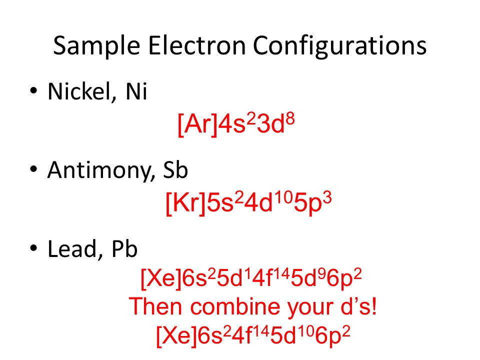 Full Electron Configuration For Lead